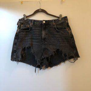 TOPSHOP High Waist Mom Denim Shorts